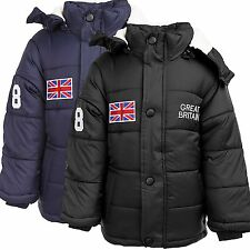 Kids Boys Girls Winter Jacket Quilted jacket warm lining With Hood New