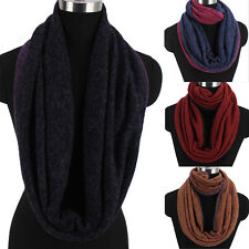 Womens Fashion Scarf Color Stitching Knit Wool Warm Infinity Loop Cowl Scarf New