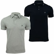 Mens Polo T-Shirt by FCUK/ French Connection Black Tipping