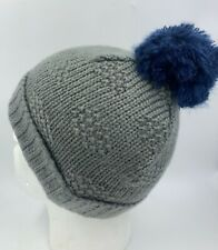 GIRLS GREY KNITTED BEANIE HAT WITH BLUE BOBBLE BNWOT 0603