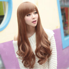 Fashion New Womens Long Wavy Curly Smooth Hair Full Cosplay Costume Wig Free Cap