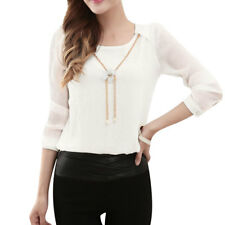 Women Long Sleeves Detachable Flower Necklace Chiffon Blouse