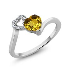 0.81 Ct Heart Shape Yellow Citrine 925 Sterling Silver Ring