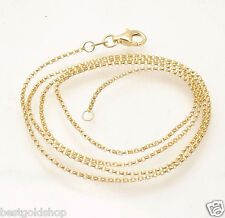 1.1mm Diamond Cut Rolo Chain Necklace Lobster Clasp Real Solid 14K Yellow Gold
