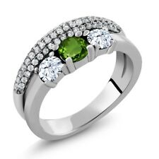 1.87 Ct Round Green Chrome Diopside White Topaz 925 Sterling Silver Ring