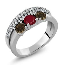 1.78 Ct Round Red Ruby Brown Smoky Quartz 925 Sterling Silver Ring