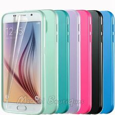 Ultra Soft TPU Rubber Gel Skin Cover Back Case For Samsung Galaxy S6 +Protector