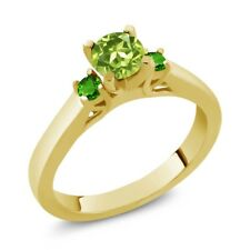 0.74 Ct Round Green Peridot and Simulated Tsavorite 925 Gold Plated Silver Ring