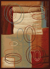 Brown Beige Multi-Color Transitional Area Rug Abstract Shapes Swirls Carpet