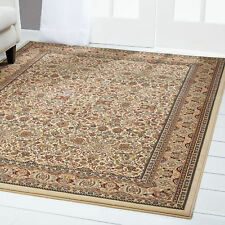 Ivory Bordered Area Rug Traditional Persian Oriental Carpet Rugs Area Rugs