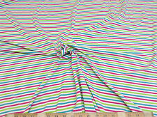Discount Fabric Lycra Spandex 4 way stretch Pink Green Turquoise Stripe LY600