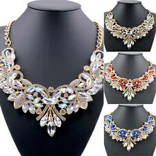 Bluelans Rhinestone Flower Pendent Chain Choker Statement Collar Bib Necklace