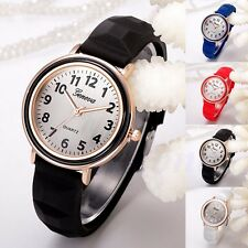 Ladies Women's Girl Geneva Silicone Jelly Gel Quartz Analog Sports Wrist Watches