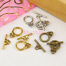 15Sets Tibetan Silver,Antiqued Gold,Bronze Leaf Connector Toggle Clasps M1392