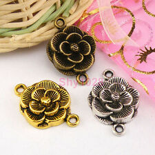 6Pcs Tibetan Silver,Gold,Bronze Flower Connectors Charms Pendants M1300