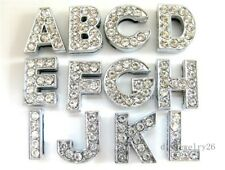 New arrived10PCS 8MM DIY Slide Charms rhinestone letters A-Z Fit Pet Collar/belt