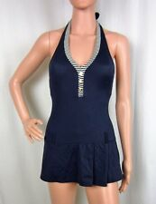 Tommy Hilfiger One-Piece Swimsuit Navy Blue Halter Button Swimdress Sizes 6-14