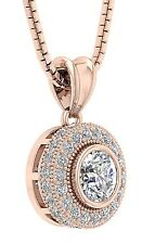 1.00 Ct Round Cut Diamond Cluster Pendant Necklace 14Kt White Yellow Rose Gold