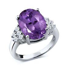 4.90 Ct Natural Oval Purple Amethyst and White Topaz 925 Sterling Silver Ring