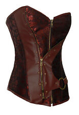 Sexy Victorian Steampunk Brown Brocade & faux leather corset basque lingerie