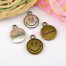 10Pcs Tibetan Silver,Bronze Smiling Face Charm Pendants Drops 12mm M1617