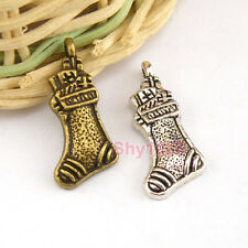 10Pcs Tibetan Silver,Antiqued Bronze Christmas Socks Charms Pendants M1433