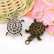 3Pcs Tibetan Silver,Antiqued Bronze Turtle Charms Pendants 21.5x34mm M1568