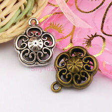 3Pcs Tibetan Silver, Gold,Bronze Hollow Flower Charms Pendants 19.5x23mm M1275