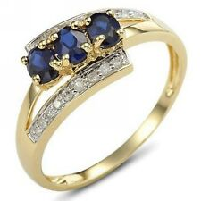 Size 6,7,8,9 Bridal Blue Sapphire 18K Gold Filled Womens Engagement Wedding Ring