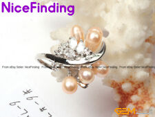 Freshwater Pearl Crystal Rings Fashion Jewelry Gold Plated,Mother's Day Gift