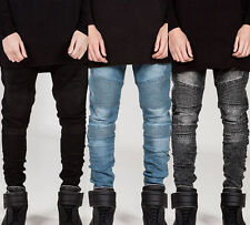 Fashion Mens Designed Straight Slim Fit Biker Jeans Pant Denim Trousers