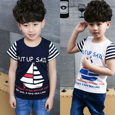 Kids Boys Cotton Short Sleeve T-shirt Boat Letters Print Summer Costume Tops New