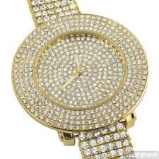 Gold Tone Crystal Bling 4 Row Bezel Iced Out Watch