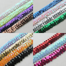 New 10Y Beautiful Sequin Elastic Stretch Ribbon Trim Craft Sewing Trimming Upick