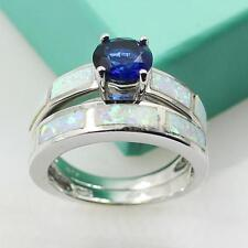 925 Sterling Silver 2Pc Stacking Opal Diamond Band Ring Set US Size 6 7 8 9 J8N1