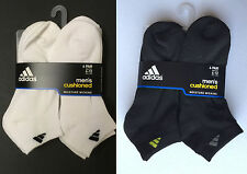 adidas 6-Pair Mens Cushioned Socks Low Cut BLACK /White Grey Lime Shoe Size 6~12
