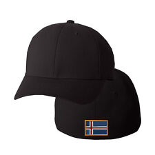 ICELAND FLAG Embroidery Embroidered Black Cotton Flexfit Hat Cap
