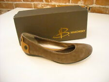B. Makowsky Remi Taupe Brown Suede Back Detail Ballet Flats New