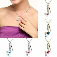 New Women High heel shoe Rhinestone Crystal Pendant Necklace Chain Jewelry Gift