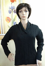 NWT CHARTER CLUB black Cable Knit long sleeve V neck collar sweater,size PL , PM