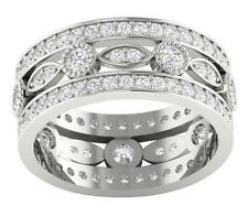 Eternity Engagement Ring Band Huge SI1/G 2.25Ct Round Cut Diamond 14K Solid Gold