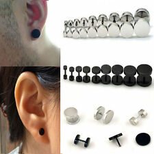 Black/Silver Mens Barbell Punk Gothic Stainless Steel Ear Studs Earrings 3-14mm