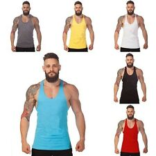 Men Sleeveless Slim Fit Cotton Vests Gym Fitness Bodybuilding Tank Tops T-shirts