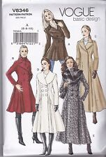 Vogue Sewing pattern Misses' Double Breasted Buttoned Coat  Sizes 6 - 16 V8346
