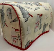 Kitchen Cooking Utensils Quilted Fabric 2-Slice or 4-Slice Toaster Cover NEW