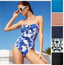 NWT Calvin Klein Bandeau One-Piece Swimsuit Ruched Solid Polka Dot Etc Size 2-14
