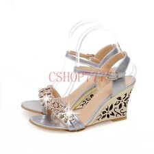New Sexy Ladies Leather Open Toe Rhinestone Shoes Carved High Wedge Heel Sandals