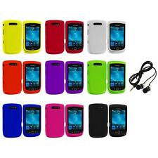 Color Hard Rubberized Case Cover+Headphones for Blackberry Torch 9800 9810