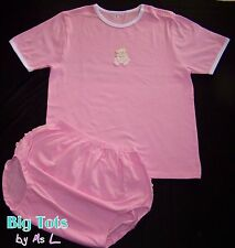 Adult Baby  Pretty Pink snap shoulder RUFFLE butt set  *Big Tots by MsL*  abdl