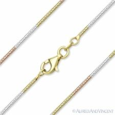 1.1mm Diamond-Cut Link Snake Chain Necklace 925 Sterling Silver w/ 14k & Rhodium
